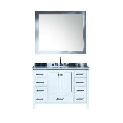 Cambridge 49 in. Bath Vanity in White with Marble Vanity Top in Carrara White with White Basins and Mirror