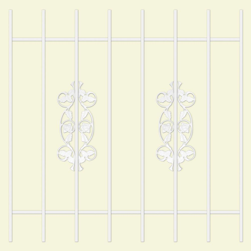 Unique Home Designs Rambling Rose 42 in. x 42 in. White 8-Bar Window Guard-DISCONTINUED