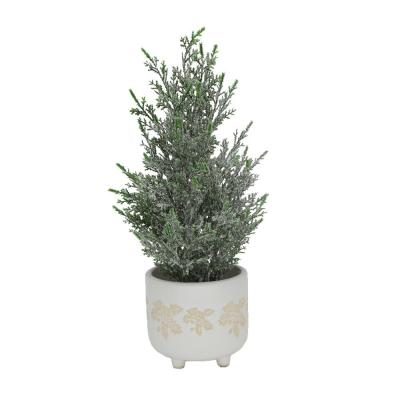 15.5 in. H Frosted Artificial Faux Chiristmas Tree in 4.75 in. Maple Leaf Ceramic Footed Pot
