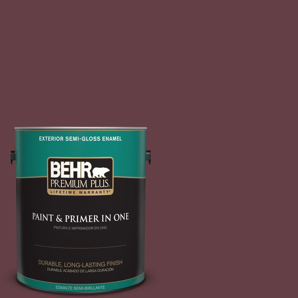 1-gal. #120F-7 Plum Raisin Semi-Gloss Enamel Exterior Paint