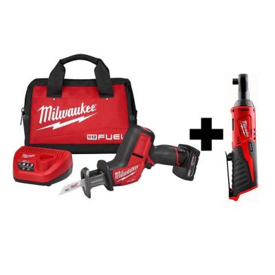 Milwaukee Fuel Hackzall Reciprocating Saw Kit  + M12 3/8 in. Ratchet