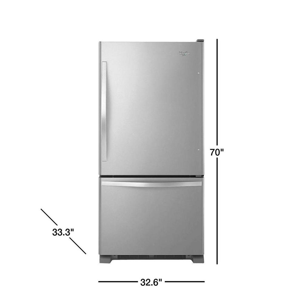 Whirlpool 22 cu. ft. Bottom Freezer Refrigerator in Stainless Steel on
