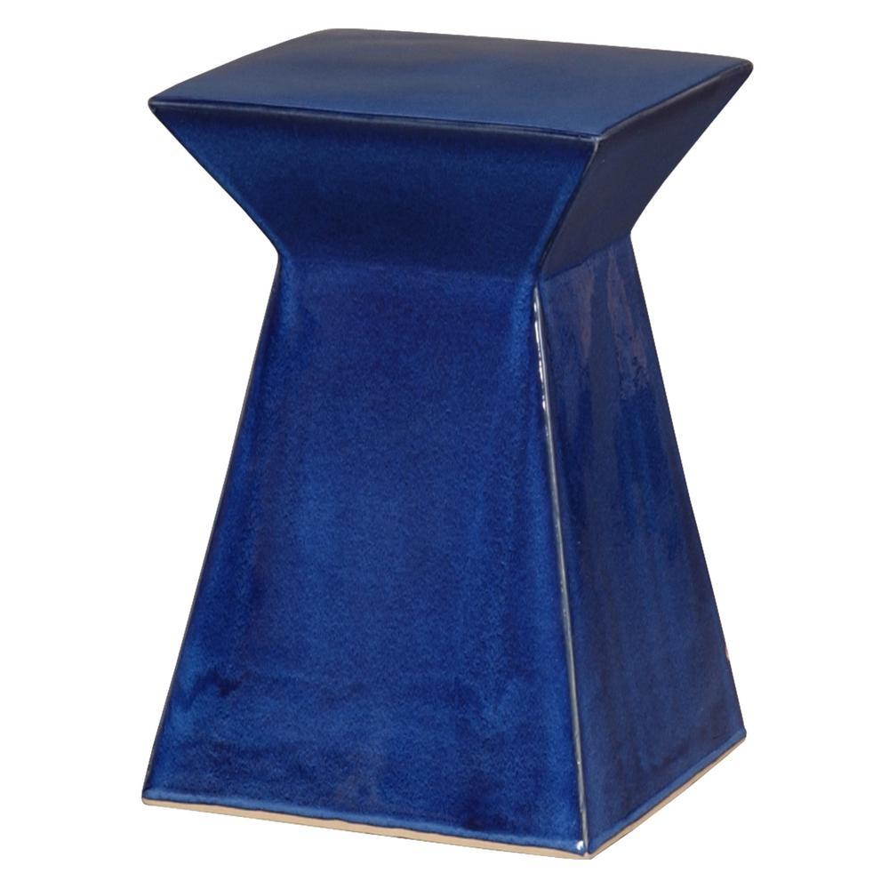Upright Blue Ceramic Garden Stool