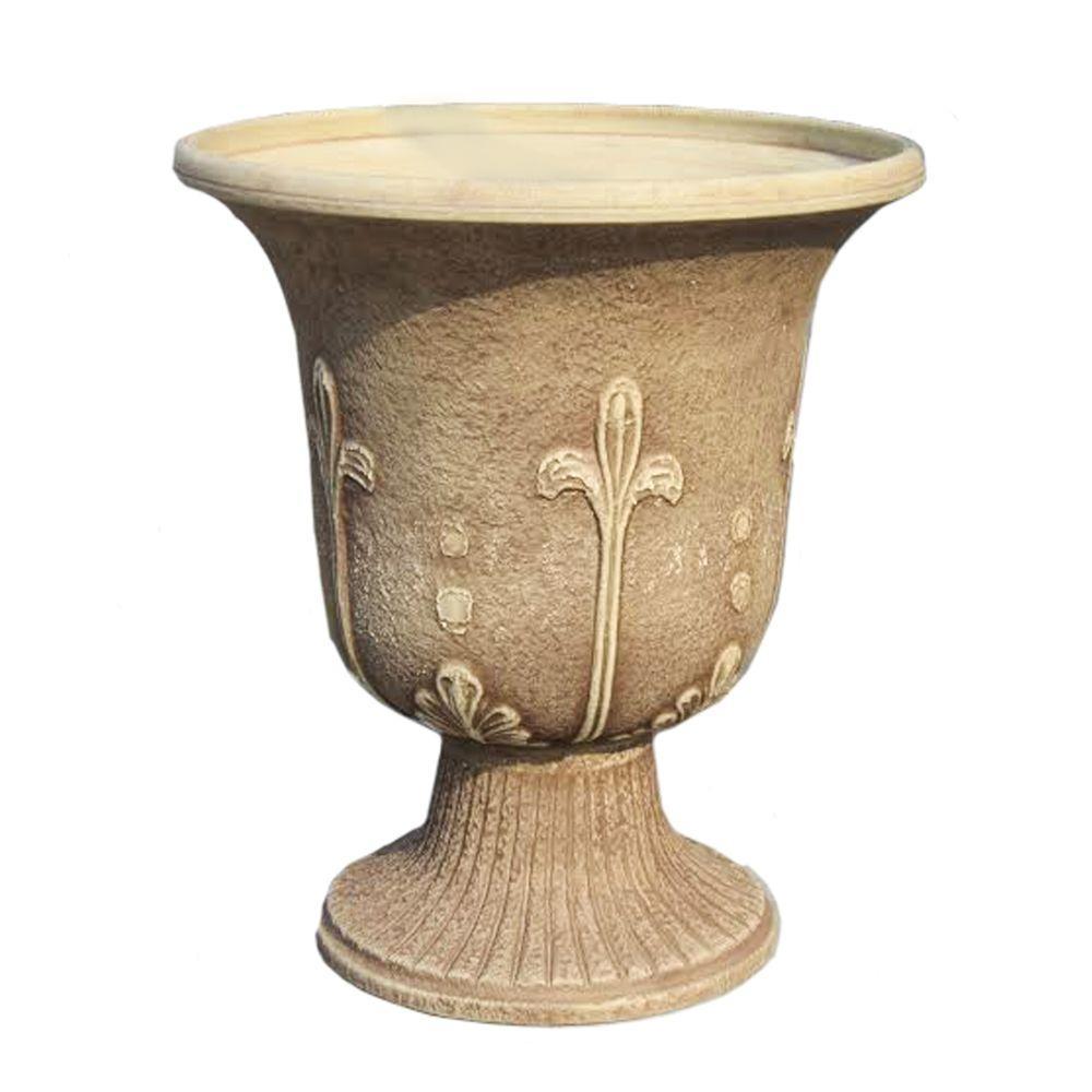 Modena 18 In Tall X 16 In Wide Sandstone Fiber Clay Urn