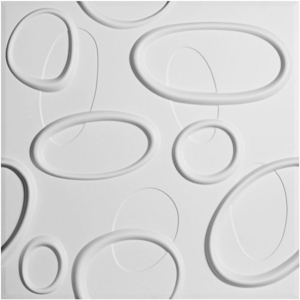Ekena Millwork 5/8 in. x 19-5/8 in. x 19-5/8 in. PVC White Felix EnduraWall Decorative 3D Wall Panel