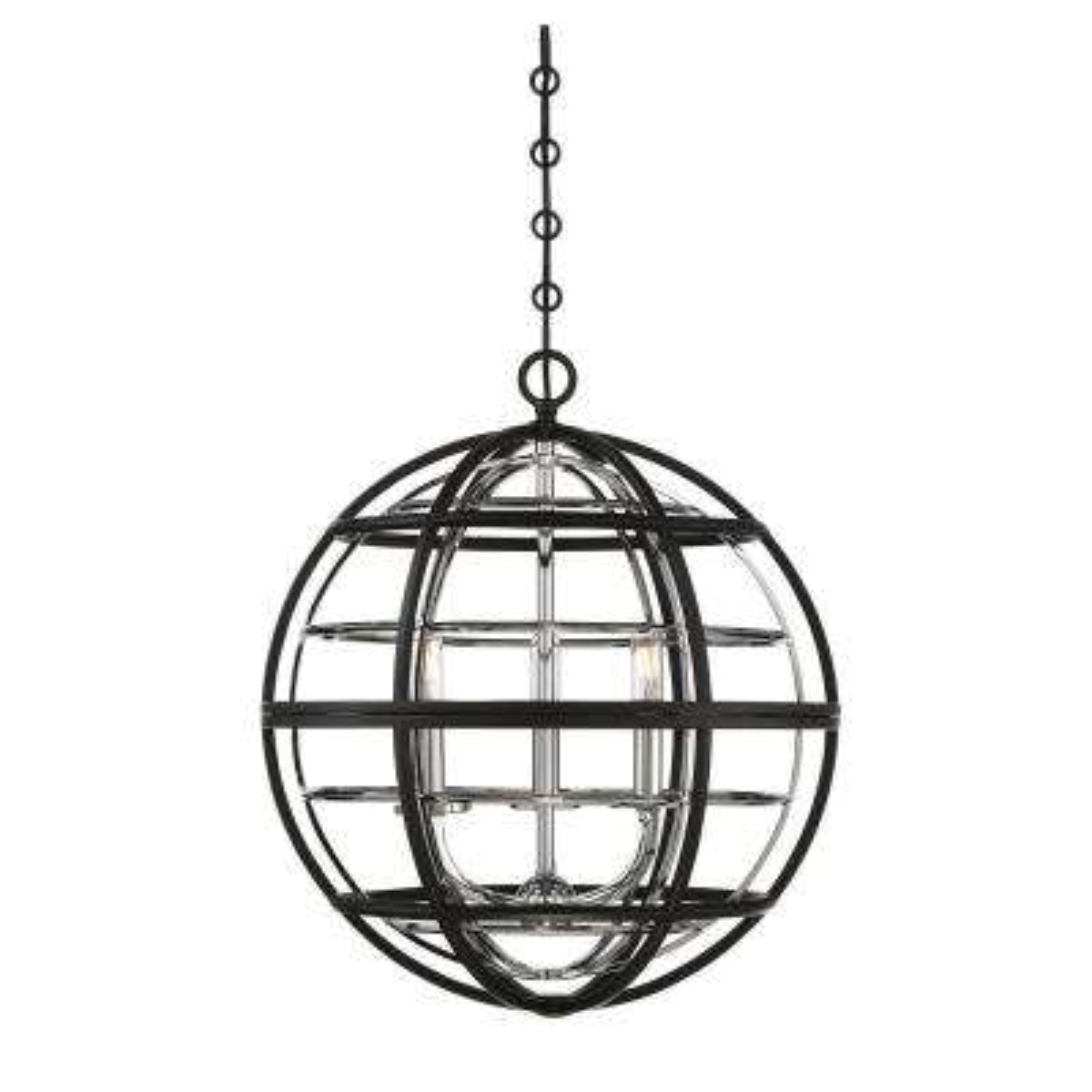 3-Light Black with Chrome Pendant