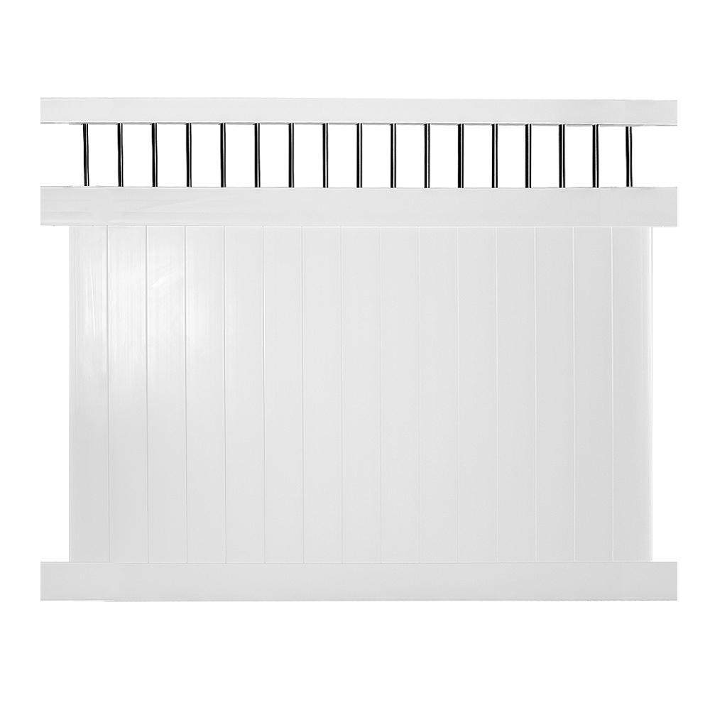 Bradford 6 ft. H x 8 ft. W White Vinyl Privacy Fence Panel Kit