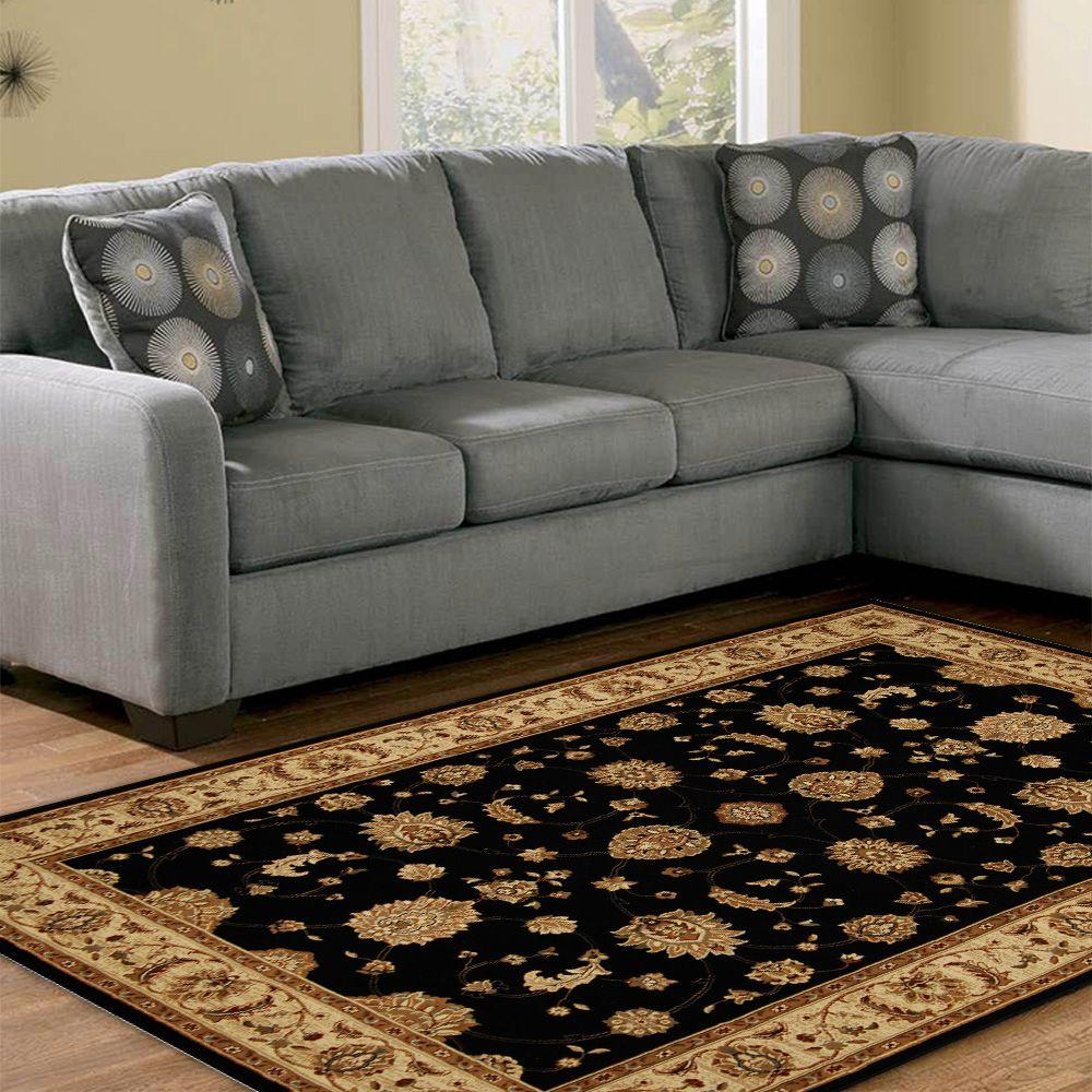Home Dynamix Dynasty Black and Beige 5 ft. 2 in. x 7 ft. 6 in. Area Rug