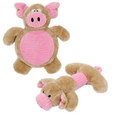 Pink and Brown Cozy Play Plush Matching Squeaking Chew Dog Toys (2-Set)