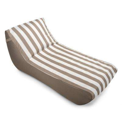 Stratus Chaise Lounge Bean Bag Pool Float in Taupe Striped, Nylon Fabric