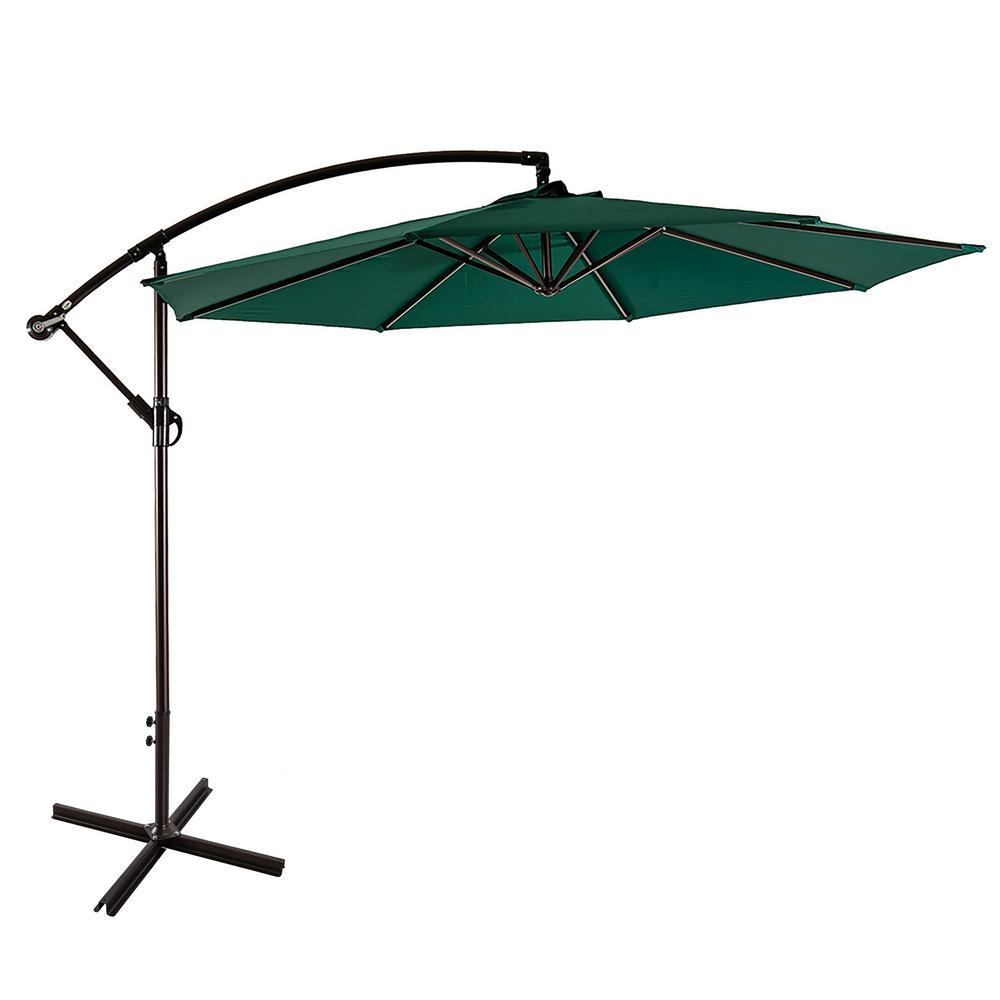 Bayshore 10 ft. Cantilever Hanging Patio Umbrella in Dark Green