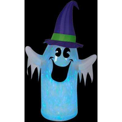 3 ft. W x 6 ft. H Inflatable Clear Ombre Projection Kaleidoscope Ghost with Witch Hat