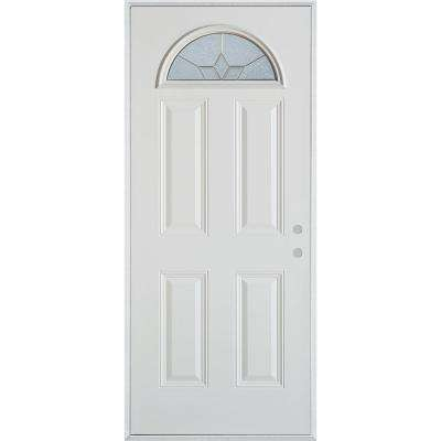 37.375 in. x 82.375 in. Geometric Patina Fan Lite 4-Panel Painted White Left-Hand Inswing Steel Prehung Front Door