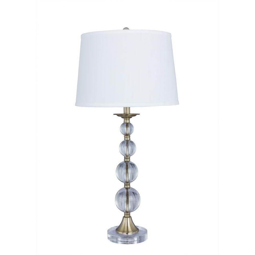 Fangio Lighting 30 5 In Antique Brass Crystal And Metal Table Lamp