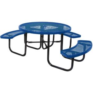 Portable Blue Diamond Commercial Park Round ADA Picnic Table by