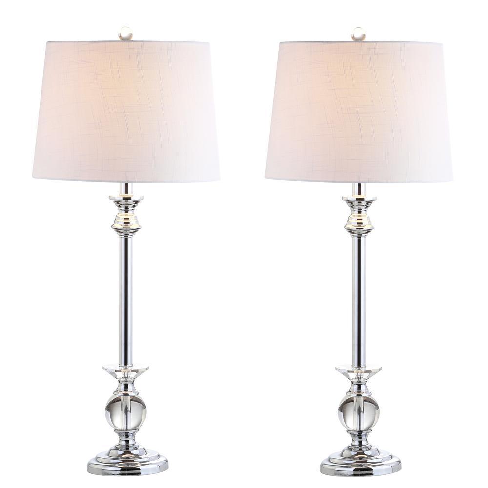 Elizabeth 33 in. Clear/Chrome Crystal/Metal Table Lamp (Set of 2)