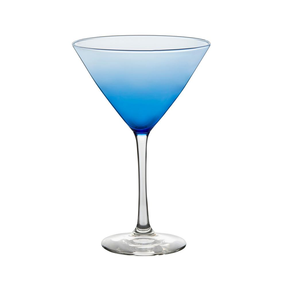 Blue Bowl 12 oz. Martini Glass Set (6-Pack)