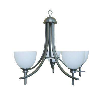 Sierra Point 5-Light Satin Steel Hanging Chandelier with Dove White Glass Shade
