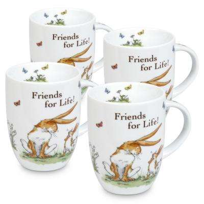 """Konitz 4-Piece Guess How Much I Love You """"Friends for Life!"""" Porcelain Mug Set"""