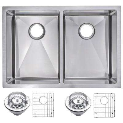 Undermount Stainless Steel 29 in. 70/30 Double Bowl Kitchen Sink with Strainer and Grid in Satin