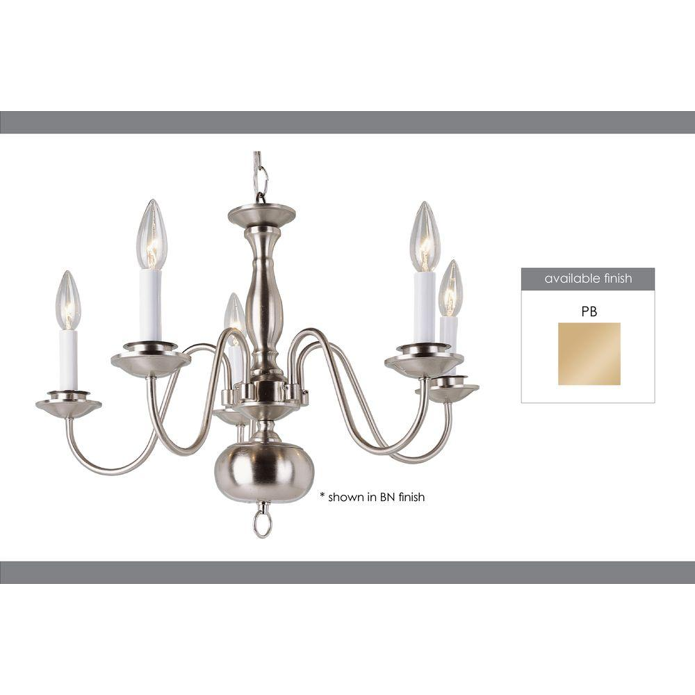 Bel Air Lighting Cabernet Collection 5-Light Polished Brass Chandelier