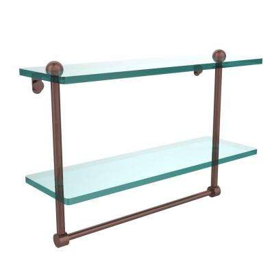 16 in. L  x 12 in. H  x 5 in. W 2-Tier Clear Glass Bathroom Shelf with Towel Bar in Antique Copper