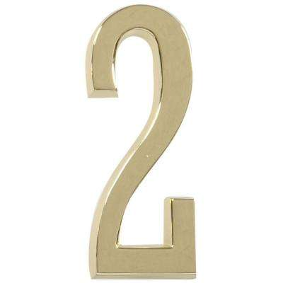 4 in. Distinctions Brass Plated Number 2