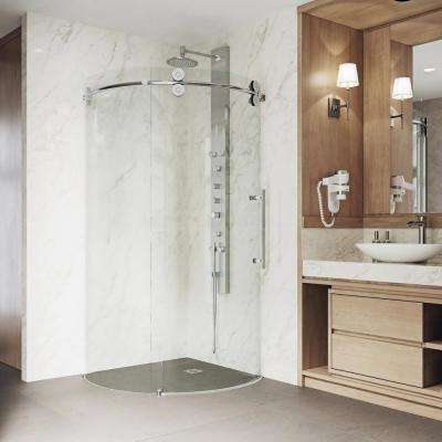 Sanibel 38 in. x 74.625 in. Frameless Corner Bypass Round Shower Enclosure in Chrome with Right-Sided Opening