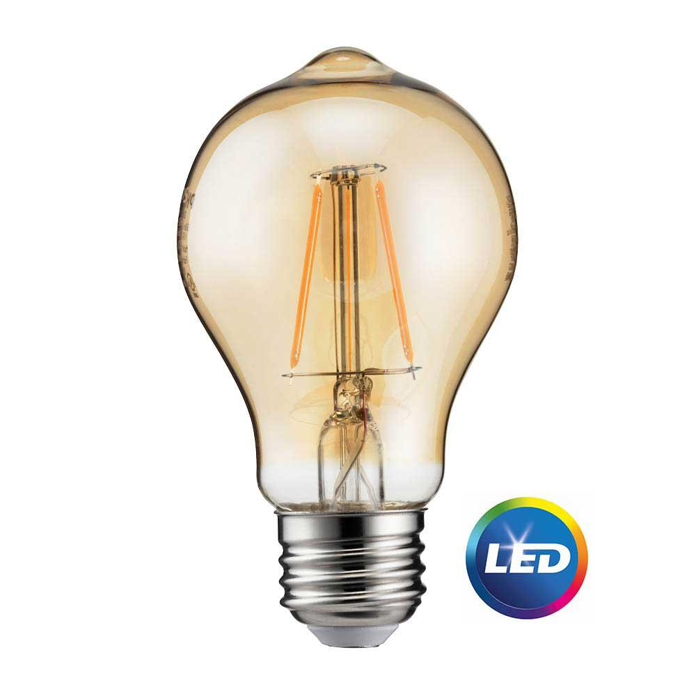 Philips 60-Watt Equivalent A19 Dimmable Indoor/Outdoor Vintage Glass Edison LED Light Bulb Amber Warm White (2200K)