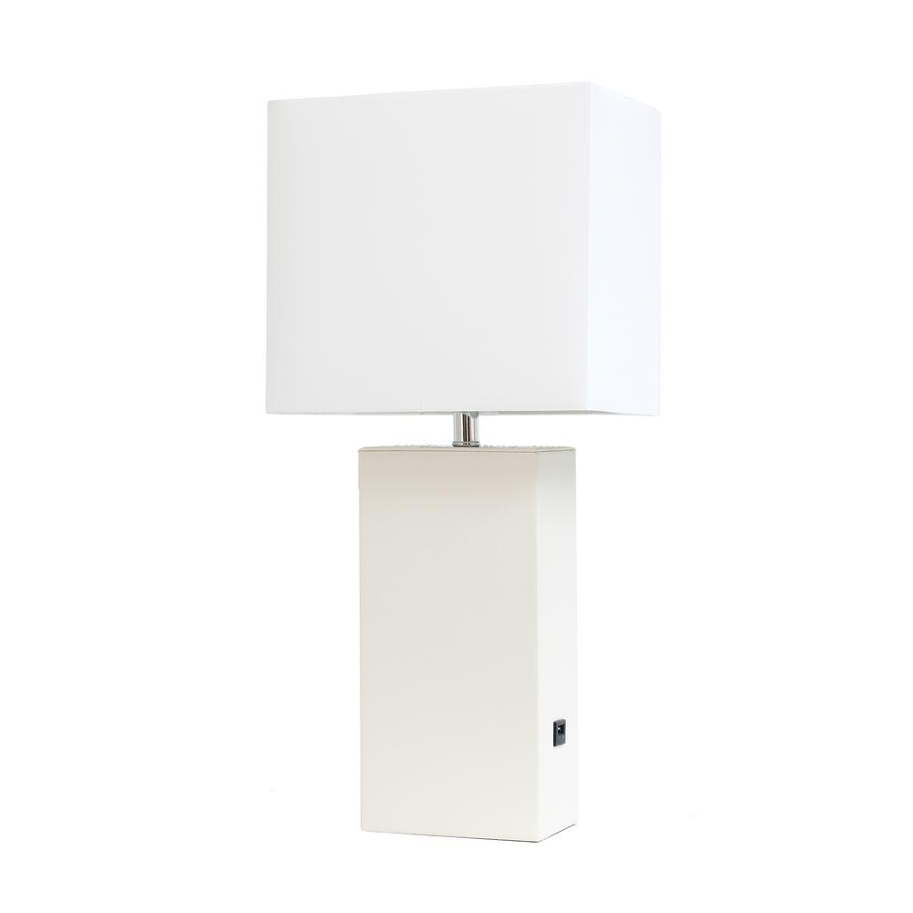 Elegant Designs 21 In White Modern Leather Table Lamp With Usb Lt1053 Wht The Home Depot