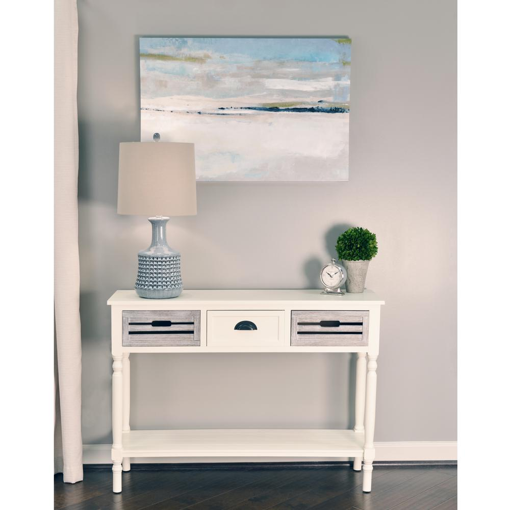 Decor Therapy Melody White And Gray 3 Drawer Console Table