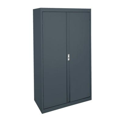System Series 36 in. W x 64 in. H x 18 in. D Charcoal Double Door Storage Cabinet with Adjustable Shelves