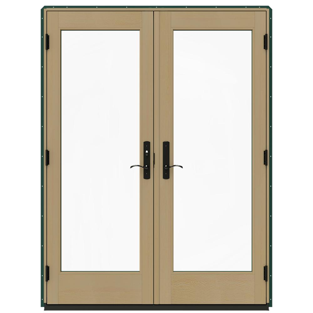 Jeld wen 60 in x 80 in w 4500 green clad wood right hand for Green french doors