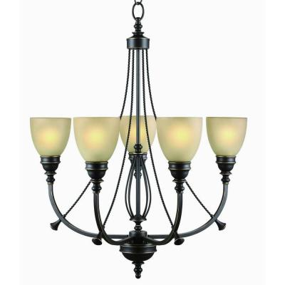 5-Light Bronze Chandelier with Tea Stained Glass Shades