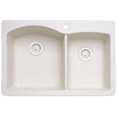 Diamond Dual Drop-in UnderMount Granite Composite  33 in. 1-Hole Double Bowl Kitchen Sink in Biscuit