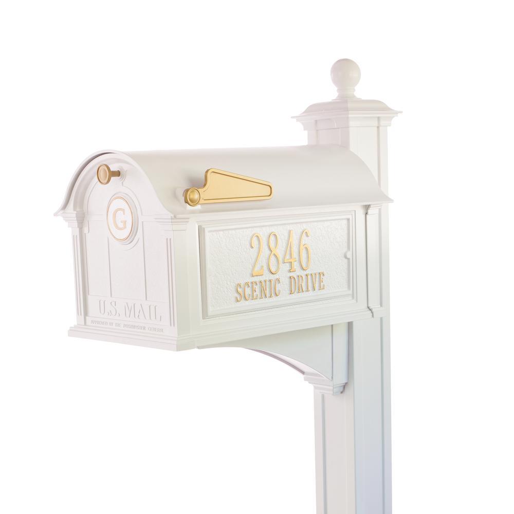 Balmoral White Streetside Monogram Mailbox Package