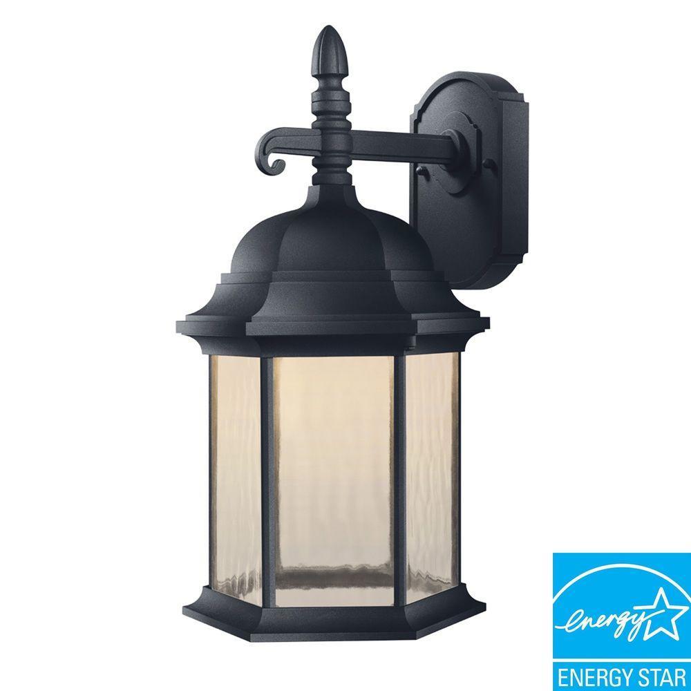 Hampton Bay Oxford Collection Black Outdoor LED Wall Lantern