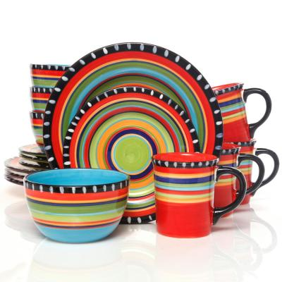 Pueblo Springs 16-Piece Rustic Hand Painted Featuring Red Ceramic Dinnerware Set (Service for 4)