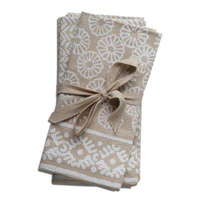 Canyon Block 20 in. x 20 in. Taupe Cotton Napkins