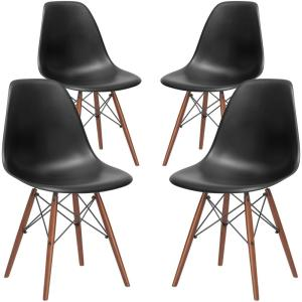Vortex Black Side Chair with Walnut Legs (Set of 4)