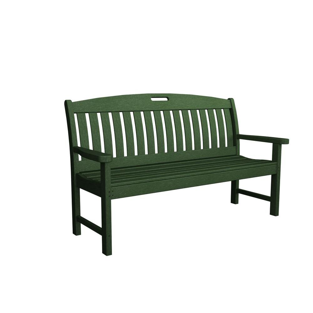 Nautical 60 in. Green Patio Bench