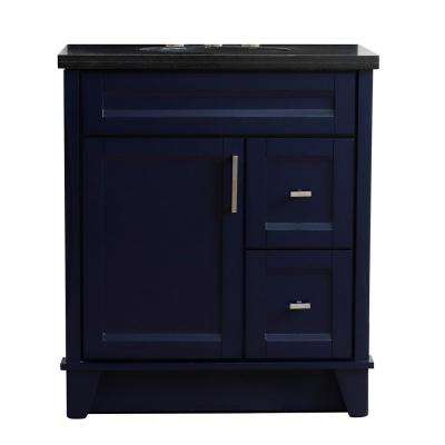 31 in. W x 22 in. D Single Bath Vanity in Blue with Granite Vanity Top in Black Galaxy with White Oval Basin