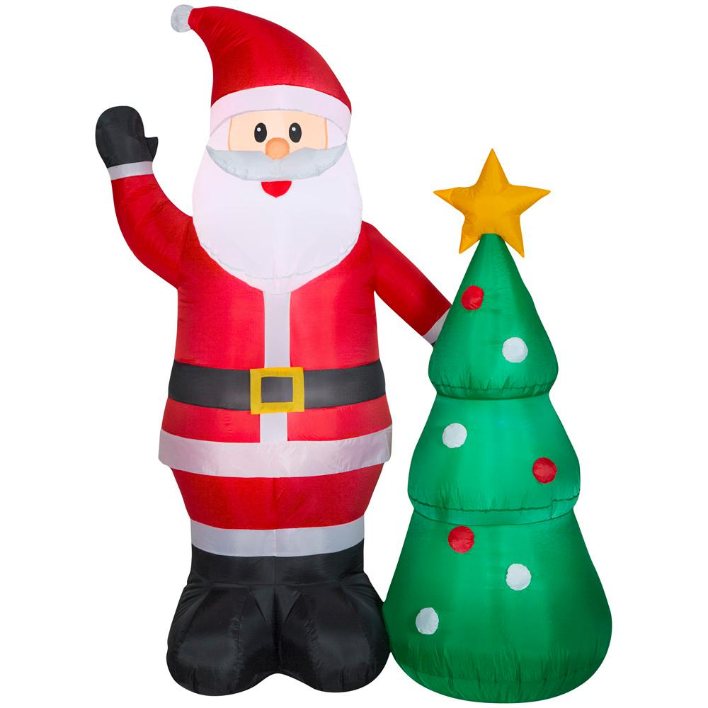 Inflatable Christmas Tree.Home Accents Holiday 6 50 Ft Pre Lit Life Size Airblown Inflatable Santa With Christmas Tree