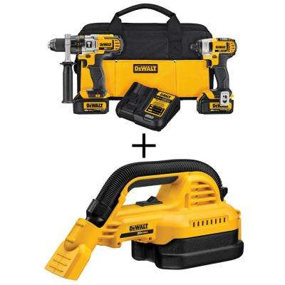 20-Volt MAX Lithium-Ion Cordless Hammer Drill/Impact Driver Combo Kit (2-Tool) with Bonus 1/2 gal. Wet/Dry Portable Vac