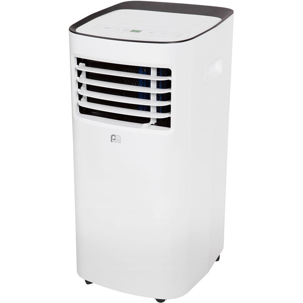 Perfect aire 8000 BTU 6300 BTU (DOE) Portable Air Conditioner with Remote in White Experience simple comfort control wherever you are, with the Perfect aires portable air conditioners. Perfect aires portable air conditioners feature on-board electronic controls with 2 speeds and a 24-hour timer, plus a handy remote control with LCD display. Easy-rolling caster wheels allow you to conveniently move the unit from room to room, providing cool air when and where you need it most. With the included window exhaust kit, it only takes a few minutes to uninstall and reinstall. In October 2017, the Department of Energy implemented a new test procedure to determine the BTU rating of portable air conditioners. The procedural change has adjusted the amount of BTUs allowed to be claimed downward by as much as 50%. There have been no internal changes to these units, and the functionality remains the same. Please refer to room size guidelines to find the portable air conditioner that best meets your needs.