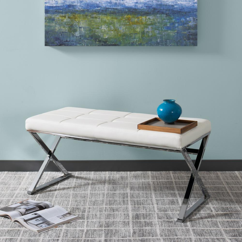 CorLiving Huntington Modern White Leatherette Bench With X Shape Chrome Base