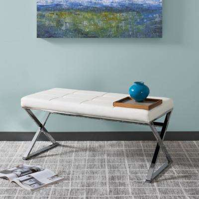 Huntington Modern White Leatherette Bench with X-Shape Chrome Base