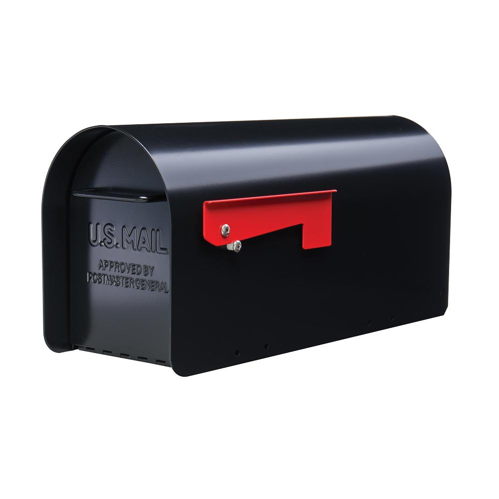 Ironside Black Heavy-Duty Steel Post Mount Mailbox