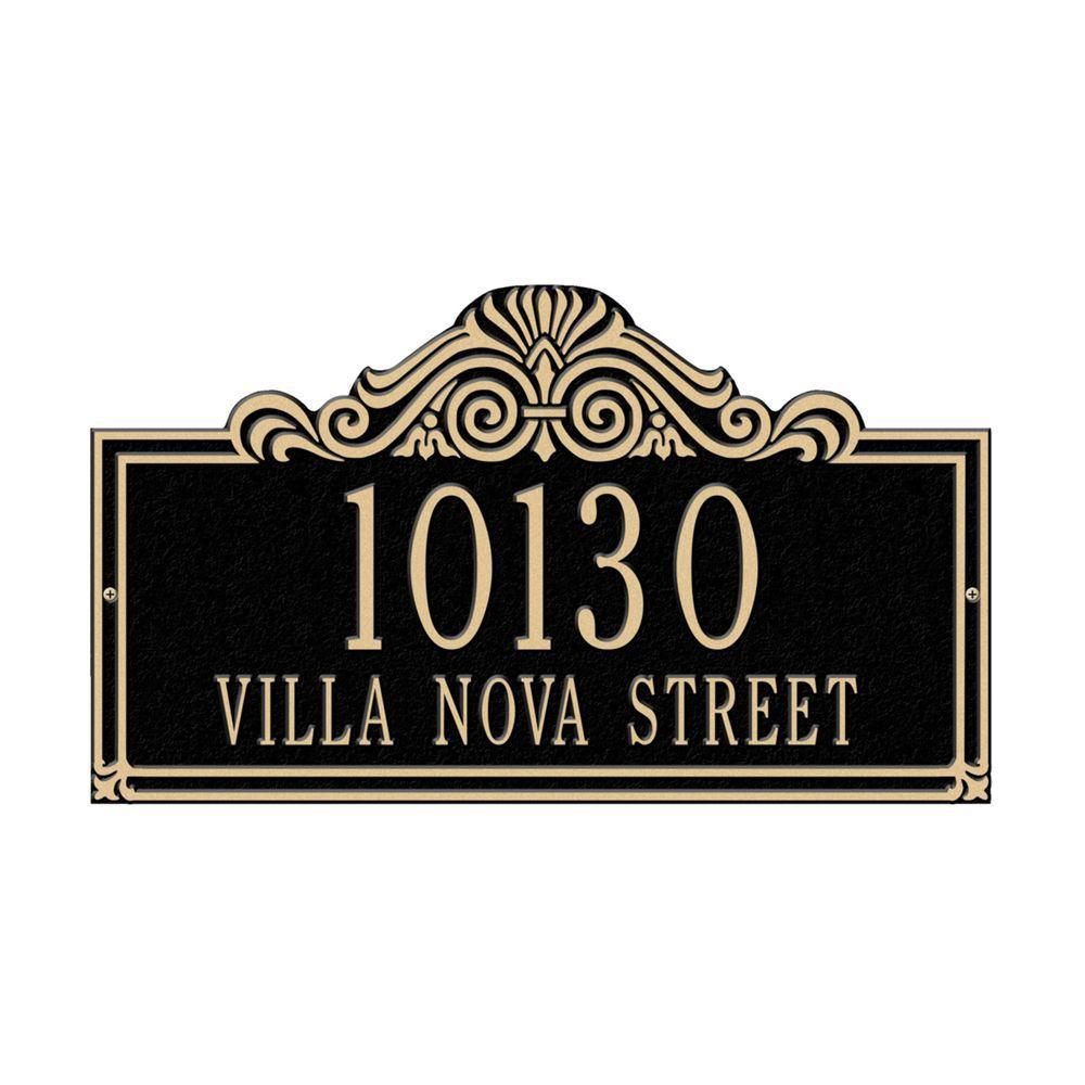Villa Nova Rectangular Black/Gold Standard Wall Two Line Address Plaque