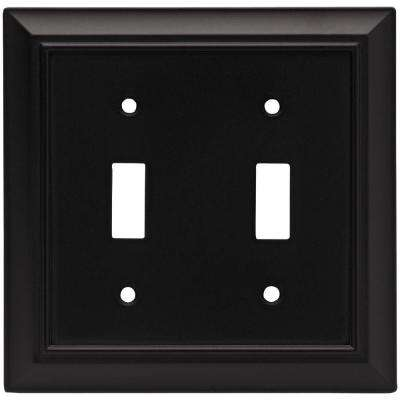 Architectural Decorative Double Switch Plate, Flat Black